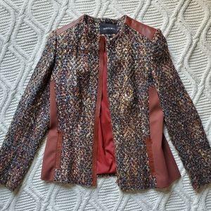Lafayette 148 New York Tweed and Leather Jacket